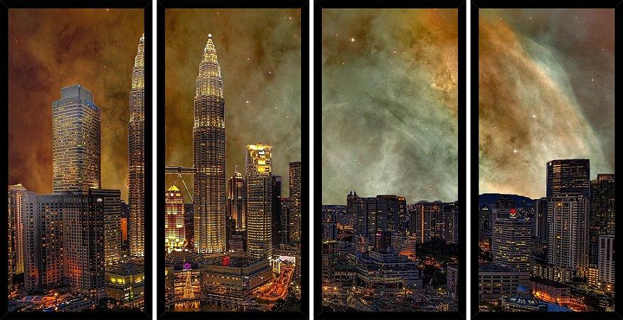 Quadro Mosaico 4 Partes Reto Malasia Estilo Pintura Art e Cia Preto