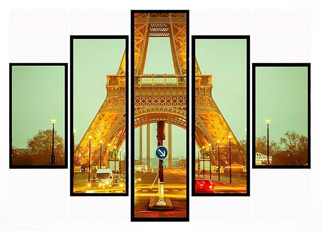 Quadro Mosaico 5 Partes Paris Torre Eiffel Moldura Preta Art e Cia