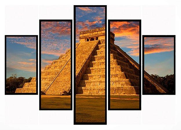 Quadro Mosaico 5 Partes  Mexico Chichen Itza Moldura Preta Art e Cia