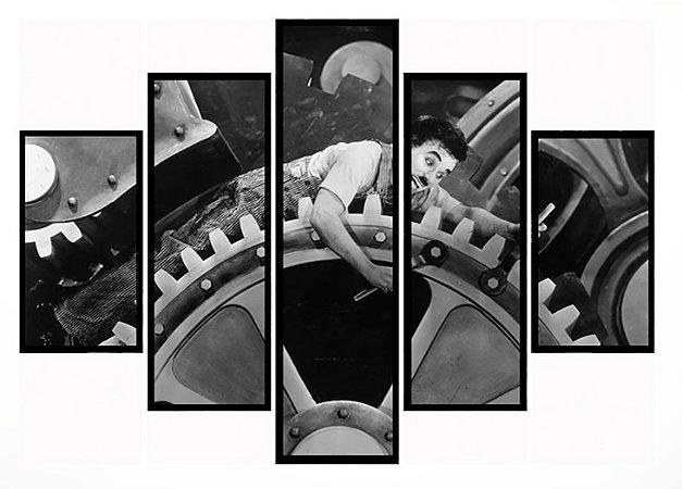 Quadro Mosaico 5 Partes Tempos Modernos Charles Chaplin Moldura Preta Art e Cia