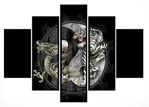 Quadro Mosaico 5 Partes Mortal Kombat Moldura Preta Art e Cia