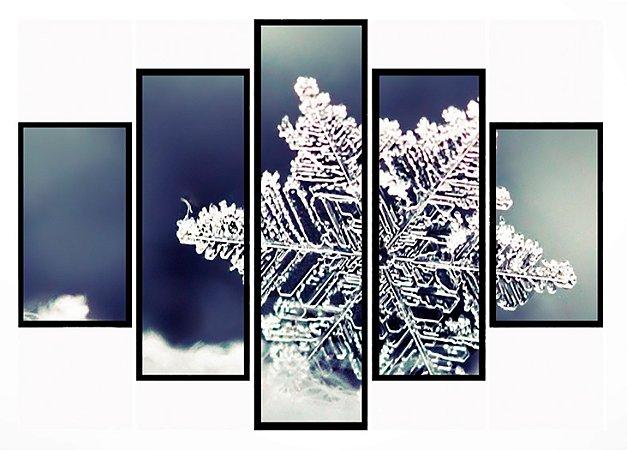 Quadro Mosaico 5 Partes Floco de Neve Moldura Preta Art e Cia