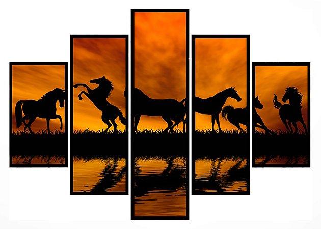 Quadro Mosaico 5 Partes Cavalos Por Do Sol Moldura Preta Art e Cia