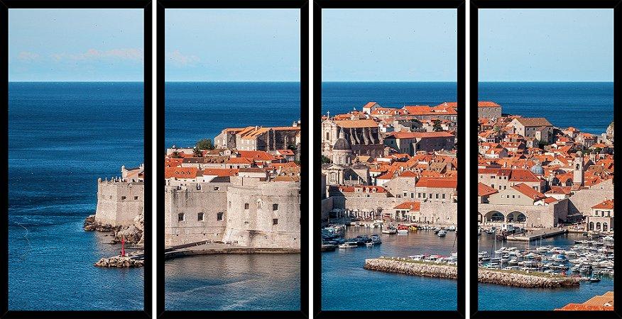 Quadro Mosaico 4 Partes Reto Approdo Del Re Croacia Art e Cia Preto