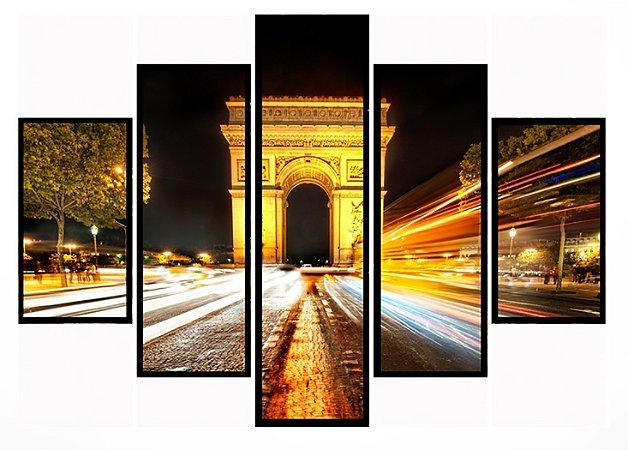 Quadro Mosaico 5 Partes Paris Arco Do Triunfo Moldura Preta Art e Cia