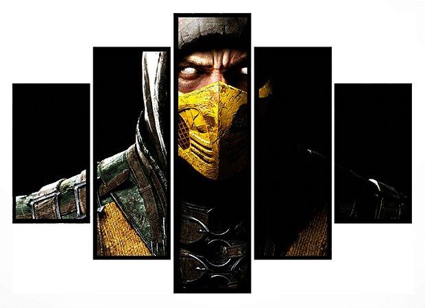 Quadro Mosaico 5 Partes  Scorpion Mortal Combat Moldura Preta Art e Cia