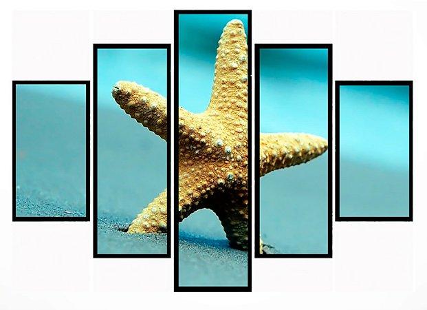 Quadro Mosaico 5 Partes Estrela Do Mar Moldura Preta Art e Cia