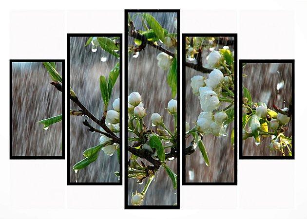 Quadro Mosaico 5 Partes Chuva de Primavera Moldura Preta Art e Cia