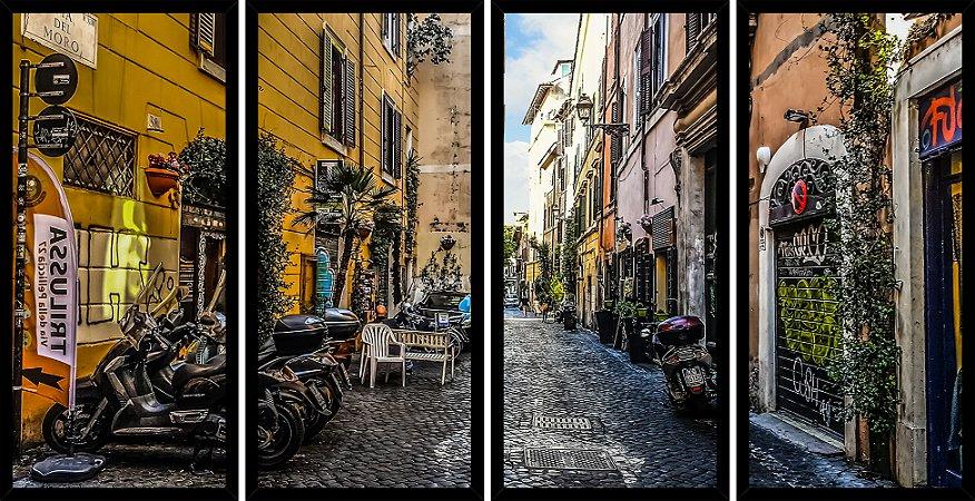 Quadro Mosaico 4 Partes Reto Street Of Trastevere Roma Art e Cia Preto