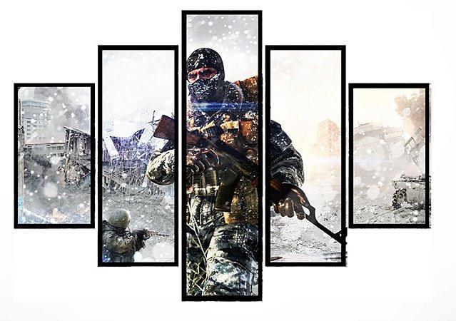 Quadro Mosaico 5 Partes Call Of Duty Moldura Preta Art e Cia