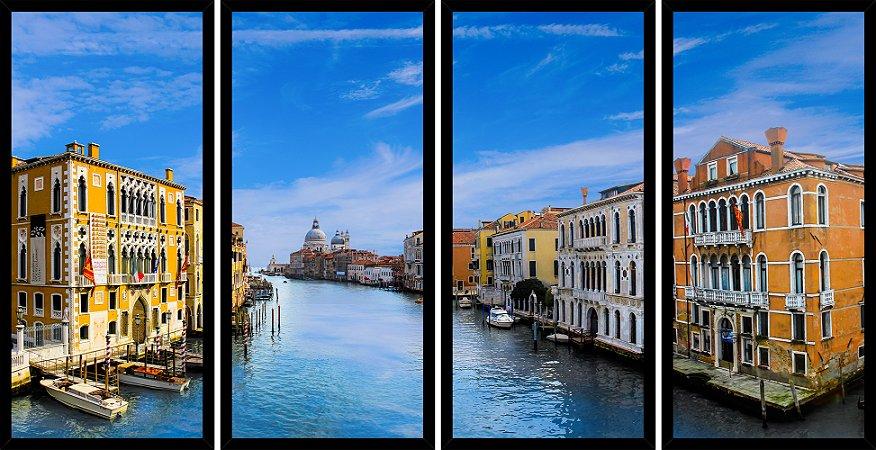 Quadro Mosaico 4 Partes Reto Grand Canal Veneza A Luz Do Dia Art e Cia Preto