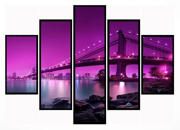 Quadro Mosaico 5 Partes Manhattan Ponte Do Brooklyn Moldura Preta Art e Cia