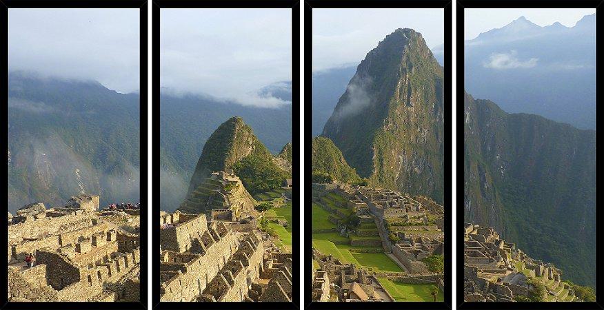 Quadro Mosaico 4 Partes Reto Machu Picchu Peru Art e Cia Preto