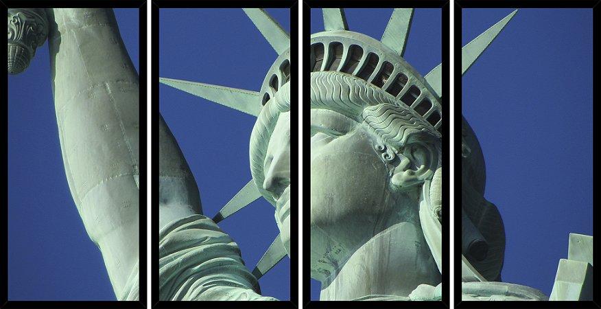 Quadro Mosaico 4 Partes Reto Estatua Da Liberdade Nova Iorque Art e Cia Preto
