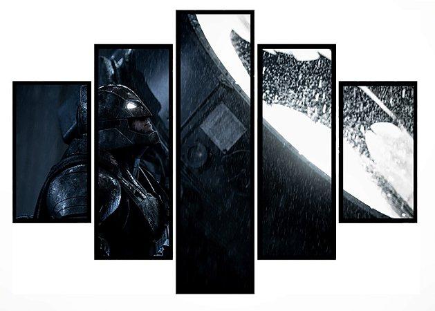 Quadro Mosaico 5 Partes Batman Arkhan Batsinal Moldura Preta Art e Cia