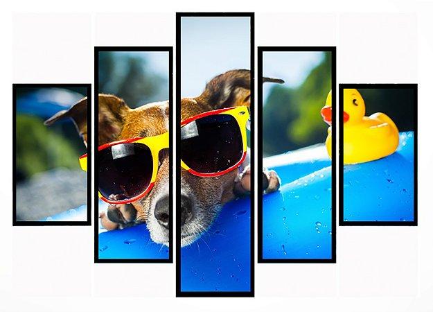 Quadro Mosaico 5 Partes Cachorro Na Piscina Moldura Preta Art e Cia
