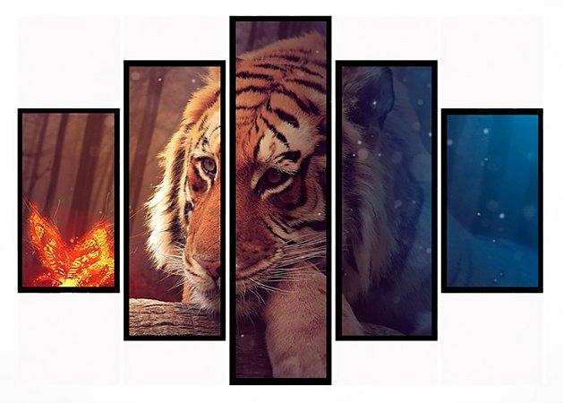 Quadro Mosaico 5 Partes Tigre Red And Blue Moldura Preta Art e Cia