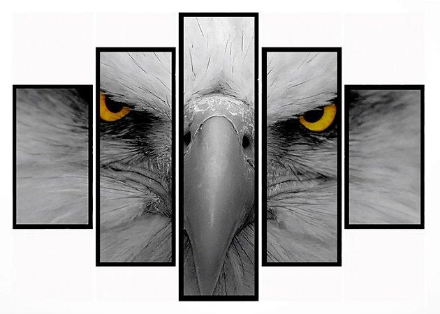 Quadro Mosaico 5 Partes  Eagle Moldura Preta Art e Cia