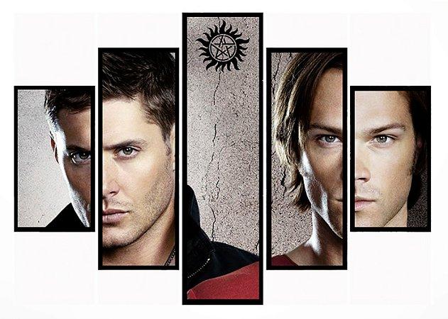 Quadro Mosaico 5 Partes Supernatural Sam e Dean Moldura Preta Art E Cia