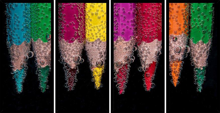 Quadro Mosaico 4 Partes Reto Lapis de Cor Coloridos Art e Cia Preto