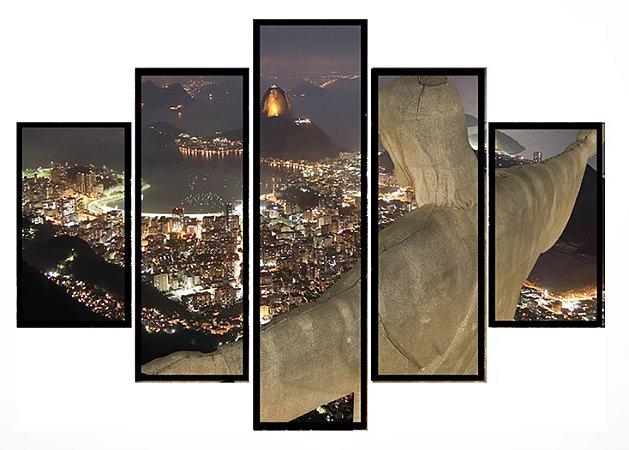 Quadro Mosaico 5 Partes Rio de Janeiro Moldura Preta Art e Cia