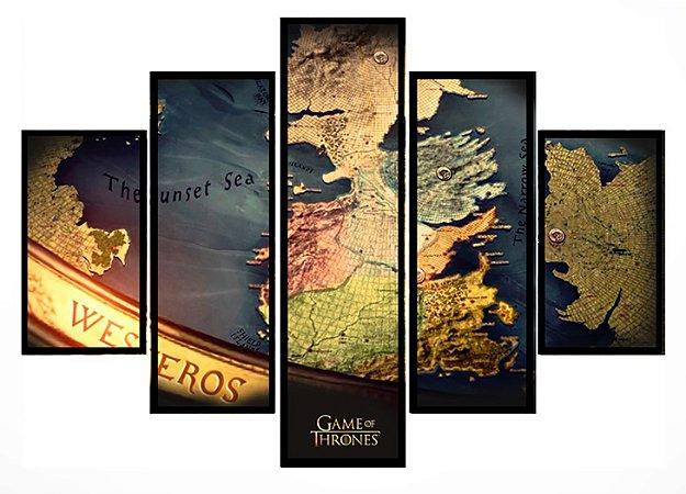 Quadro Mosaico 5 Partes Game Of Thrones Mapa Westeros Moldura Preta Art e Cia