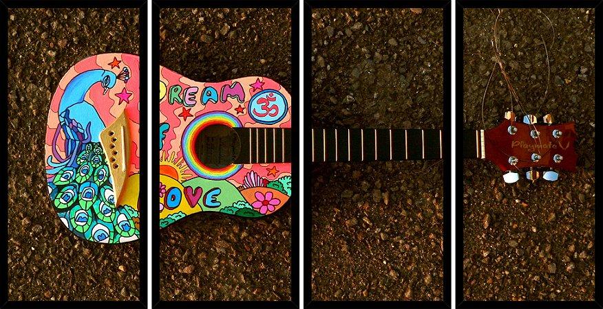 Quadro Mosaico 4 Partes Reto Violao Super Colorido Art e Cia Preto