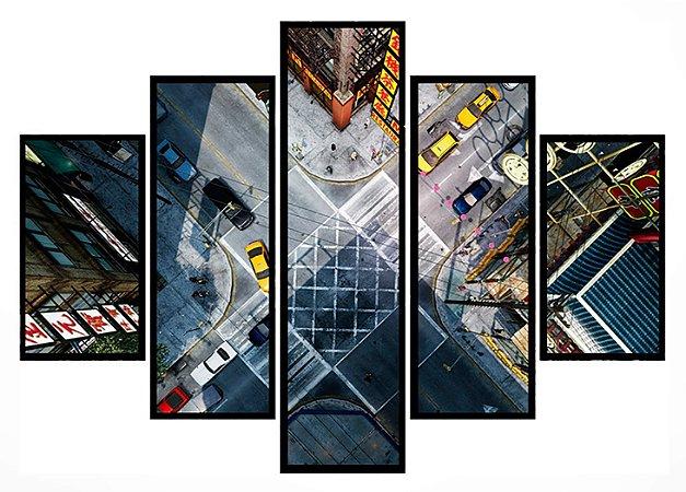 Quadro Mosaico 5 Partes Chinatown New York Moldura Preta Art e Cia