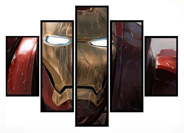 Quadro Mosaico 5 Partes Iron Man Moldura Preta Art e Cia