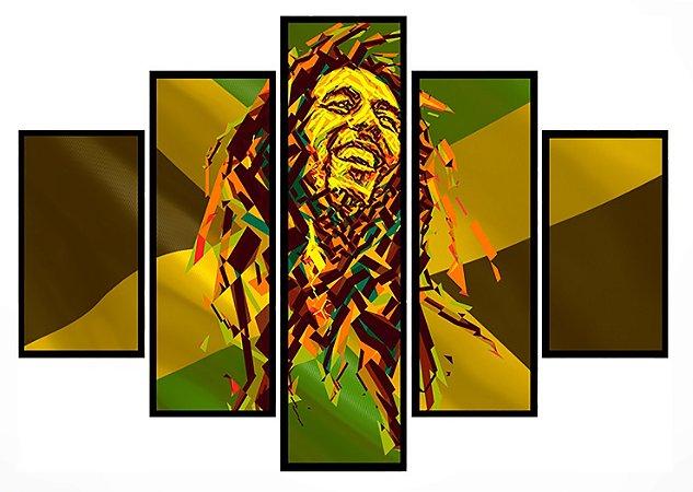 Quadro Mosaico 5 Partes Bob Marley Moldura Preta Art e Cia