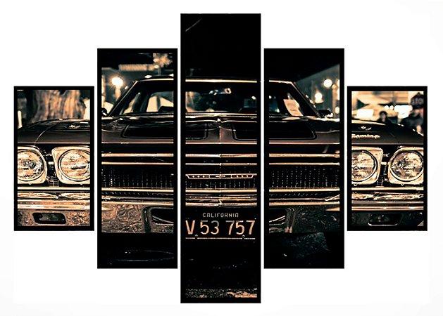 Quadro Mosaico 5 Partes Chevrolet Impala Moldura Preta Art e Cia