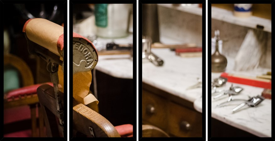 Quadro Mosaico 4 Partes Reto Cadeira Barbearia Art e Cia Preto
