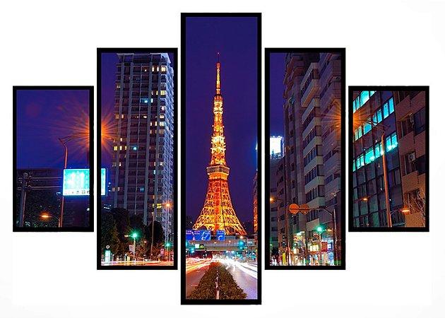 Quadro Mosaico 5 Partes Torre de Toquio Moldura Preta Art e Cia