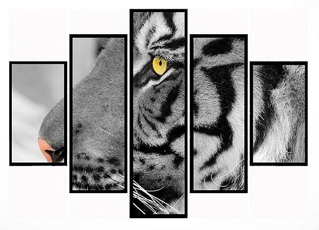 Quadro Mosaico 5 Partes Tigre Branco Moldura Preta Art e Cia