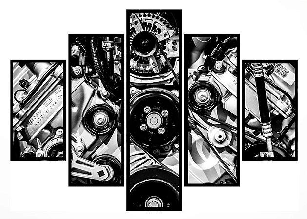 Quadro Mosaico 5 Partes Motor Moldura Preta Art e Cia