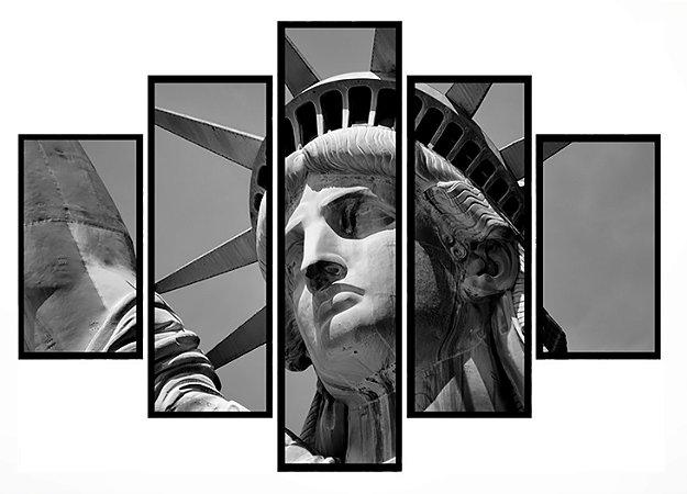 Quadro Mosaico 5 Partes Estatua Da Liberdade Moldura Preta Art e Cia