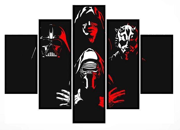 Quadro Mosaico 5 Partes  Bohemian Rhapsody Star Wars Moldura Preta Art e Cia