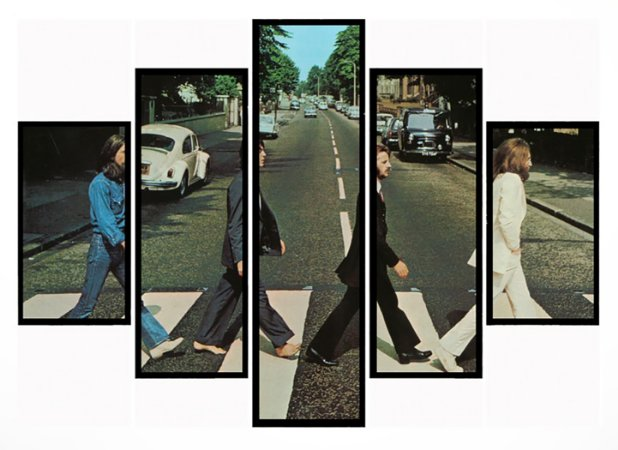 Quadro Mosaico 5 Partes Disco Abbey The Beatles Moldura Preta Art e Cia