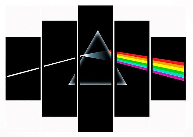 Quadro Mosaico 5 Partes Pink Floyd Moldura Preta Art e Cia