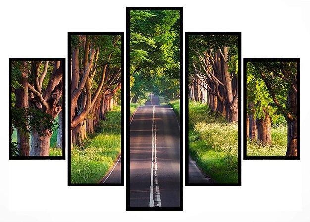 Quadro Mosaico 5 Partes Floresta Na Estrada Moldura Preta Art e Cia