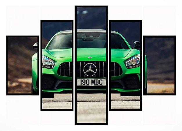 Quadro Mosaico 5 Partes Mercedes Verde Moldura Preta Art e Cia