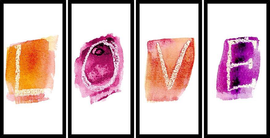Quadro Mosaico 4 Partes Reto Love Aquarela Art e Cia Preto
