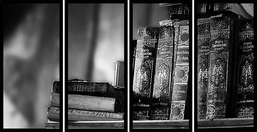 Quadro Mosaico 4 Partes Reto Livros Antigos Art e Cia Preto