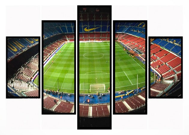 Quadro Mosaico 5 Partes Estadio Moldura Preta Art e Cia