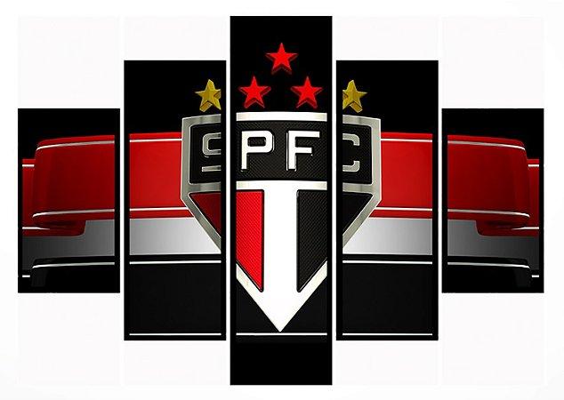 Quadro Mosaico 5 Partes Sao Paulo Tricolor Moldura Preta Art e Cia
