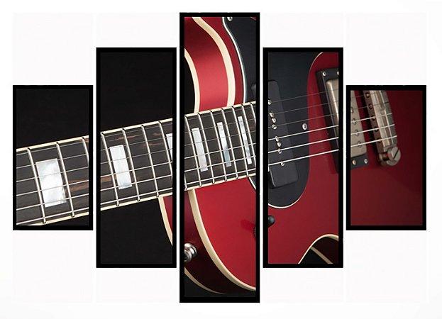 Quadro Mosaico 5 Partes Guitarra Moldura Preta Art e Cia