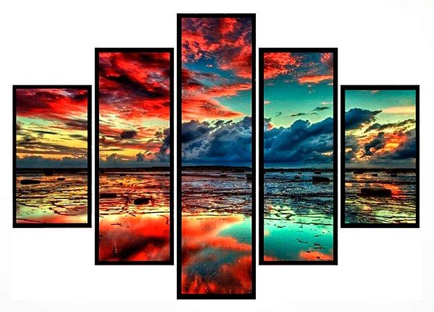 Quadro Mosaico 5 Partes  Sunset Moldura Preta Art e Cia
