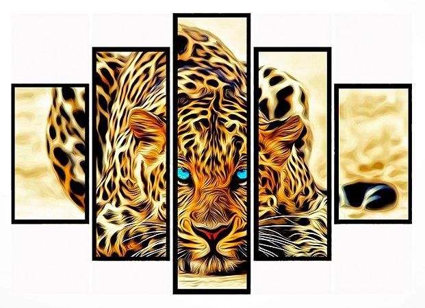 Quadro Mosaico 5 Partes Tigre Olhos Azuis Moldura Preta Art e Cia