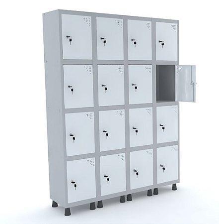 Roupeiro de Aco 4 Vaos 16 Portas com Fechadura Pandin Cinza e Branco  1,90 M