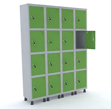 Roupeiro de Aco 4 Vaos 16 Portas com Fechadura Pandin Cinza e Verde Miro  1,90 M
